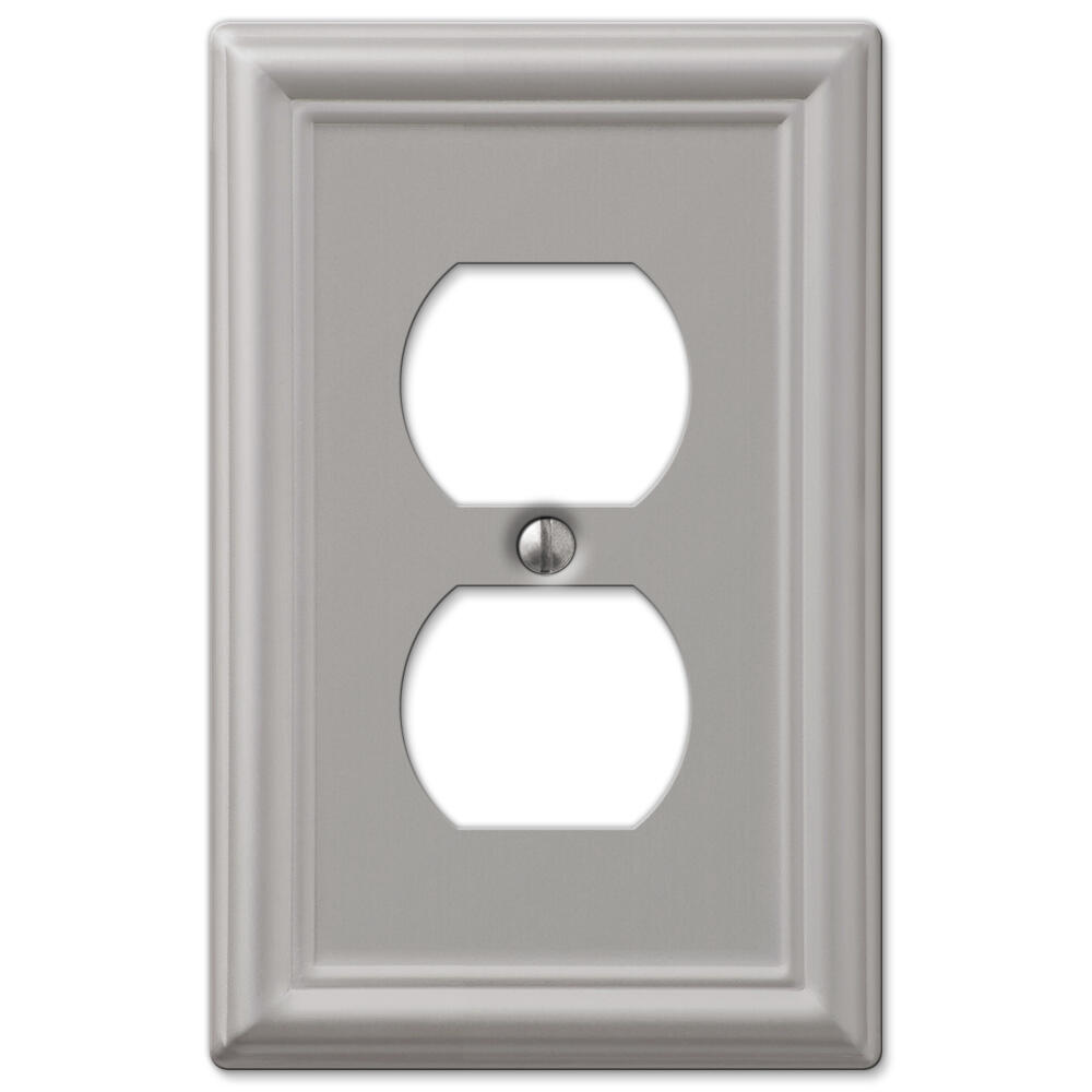 Chelsea Brushed Nickel Stamped Steel 1 Gang Duplex Outlet Wall Plate At Menards