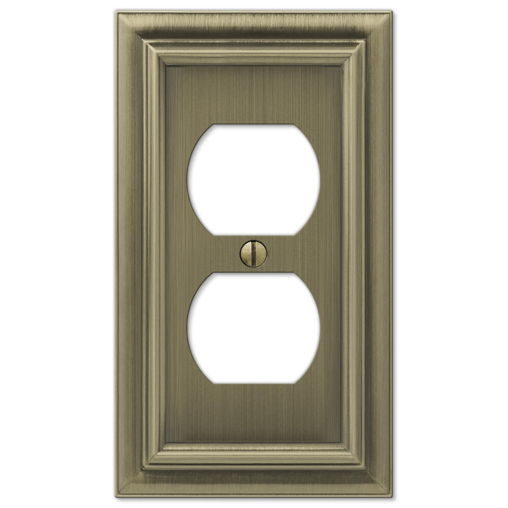 Continental Brushed Brass Cast Metal 1 Gang Duplex Outlet Wall Plate At Menards