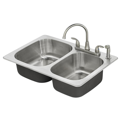 American Standard Fairport Drop In 33 Stainless Steel 4 Hole Double Bowl Kitchen