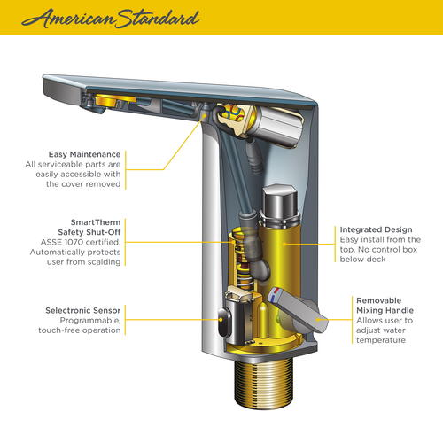 american standard paradigm selectronic commercial bathroom faucet at menards american standard