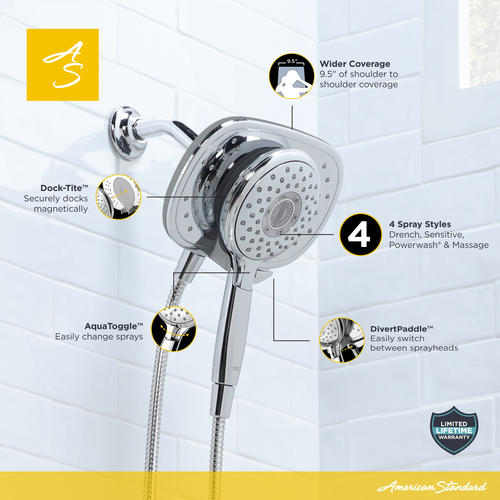 American Standard Spectra Duo™ 4-Spray 2-in-1 Fixed Mount Showerhead ...