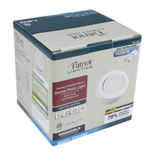 Patriot Lighting 174 Led White Plug In Swivel Puck Light At