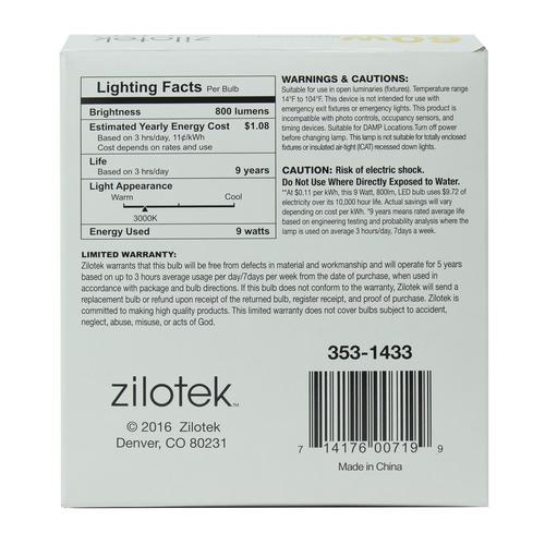Zilotek 174 60w Equivalent A19 Dimmable Led Light Bulb 2