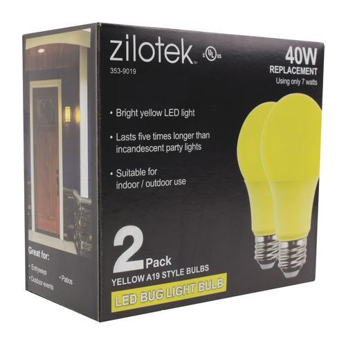 Zilotek 40w Equivalent A19 Yellow Led Light Bulb 2 Pack