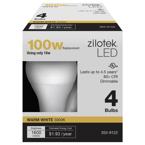 Zilotek A19 Dimmable Led Light Bulb 4 Pack At Menards 174