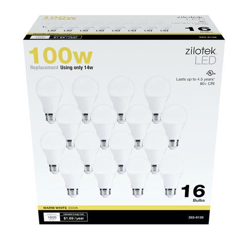 Zilotek A19 Led Light Bulb 16 Pack At Menards 174