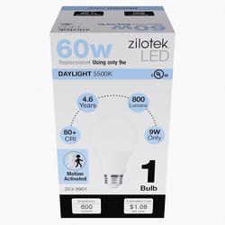 Zilotek 60w Equivalent A19 Daylight Motion Activated Led