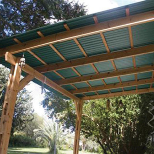 Pve Plus 26 X 8 Green Foamed Pvc Corrugated Patio Panel At Menards