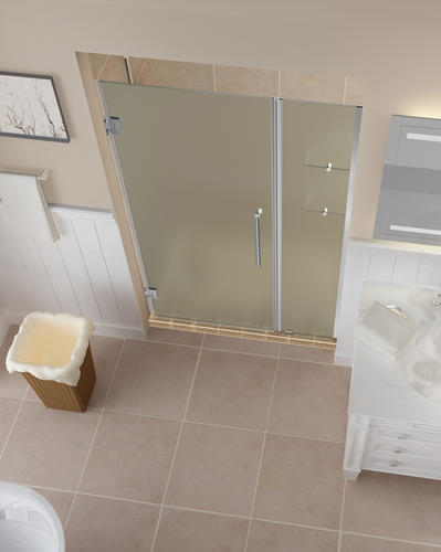 decorative windows for bathrooms frosted vinyl for.htm aston belmore 44 w x 72 h frameless hinged shower door with  x 72 h frameless hinged shower door
