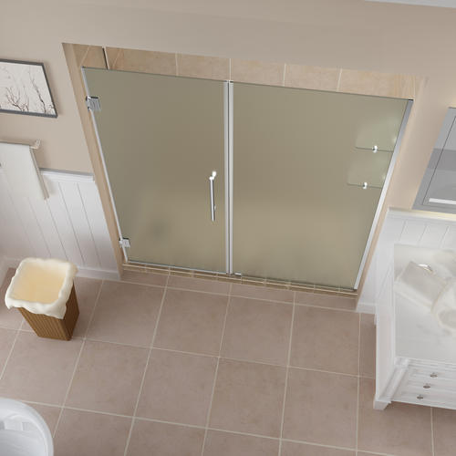 "Aston Belmore 74""W x 72""H Chrome Frameless Hinged Shower Door with Frosted Glass and Shelves"