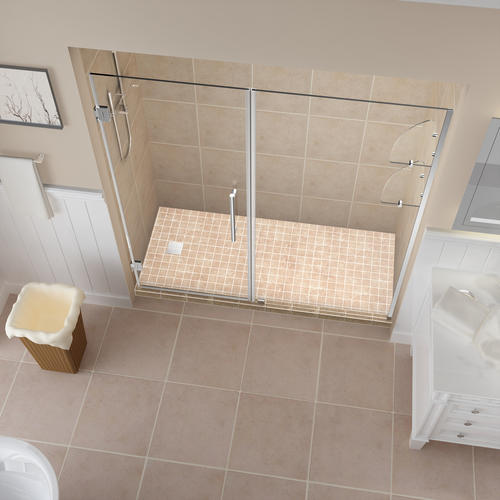 "Aston Belmore 62""W x 72""H Chrome Frameless Hinged Shower Door with Clear Glass and Shelves"