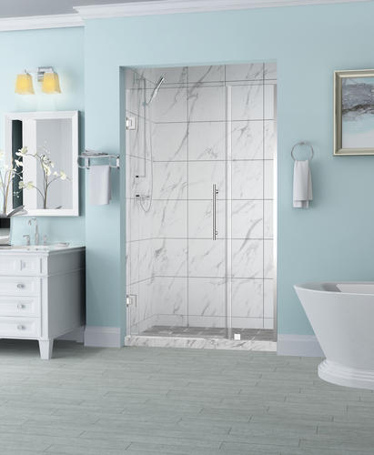 """Aston Belmore 37""""W x 72""""H Chrome Frameless Hinged Shower Door with Clear Glass"""