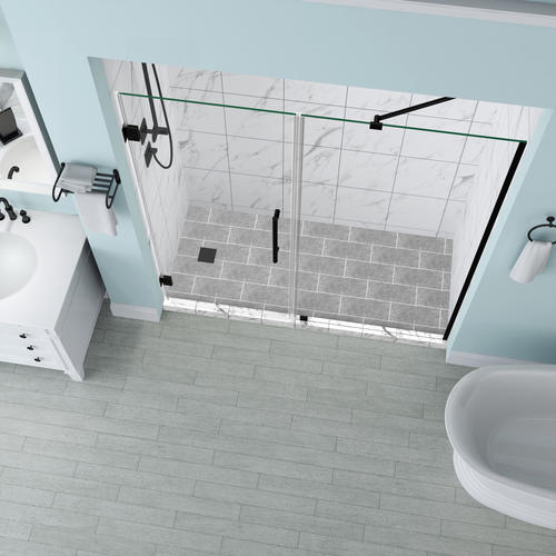 """Aston Belmore 67""""W x 72""""H Oil Rubbed Bronze Frameless Hinged Shower Door with Clear Glass"""