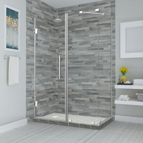 """Aston Bromley 60"""" x 30"""" x 72""""H Chrome Frameless Hinged Corner Shower Enclosure with Clear Glass"""