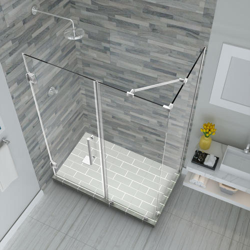 "Aston Bromley 59"" x 34"" x 72""H Stainless Steel Frameless Hinged Corner Shower Enclosure with Clear Glass"