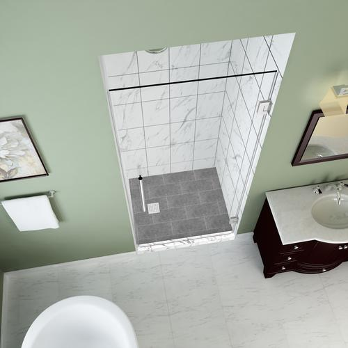 "Aston Kinkade 26""W x 72""H Chrome Frameless Hinged Shower Door with Clear Glass"