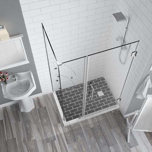 "Aston Bromley 49"" x 30"" x 72""H Chrome Frameless Hinged Corner Shower Enclosure with Clear Glass and Shelves"
