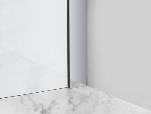 """Aston Belmore 64""""W x 72""""H Chrome Frameless Hinged Shower Door with Clear Glass"""