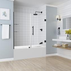 Aston Belmore 60 W X 60 H Frameless Hinged Bathtub Shower Door With Shelves At Menards