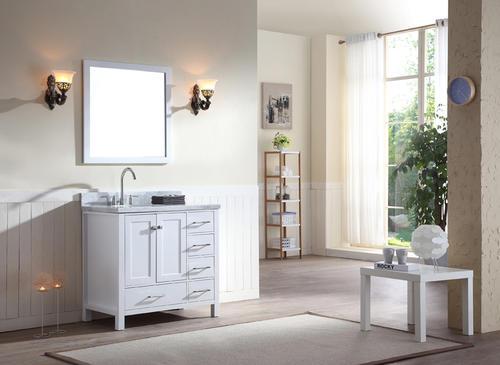 Ariel 37 Quot W X 22 Quot D White Cambridge Vanity And Carrara