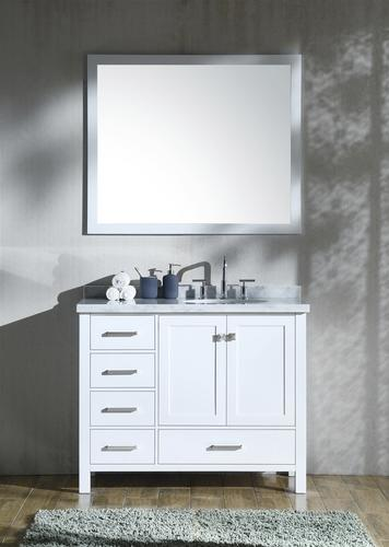 Ariel 43 W X 22 D Cambridge Vanity And Carrara White Marble Vanity Top With Undermount Bowl At Menards
