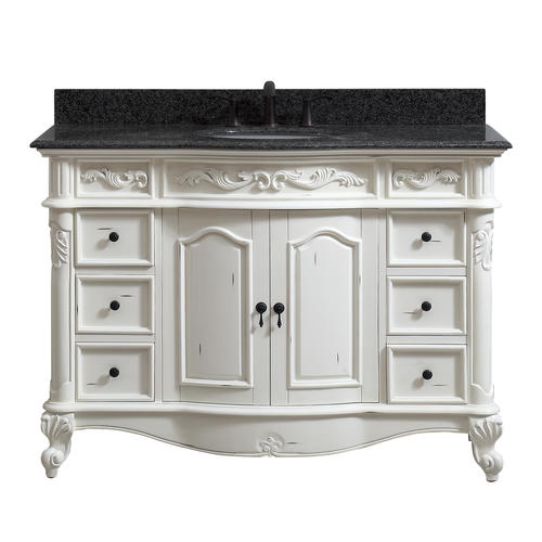 Azzuri by avanity 49 w x 22 d antique white maidstone - White bathroom vanity with black top ...