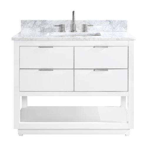 "Avanity 43""W x 22""D White Allie Vanity and Carrara White ..."