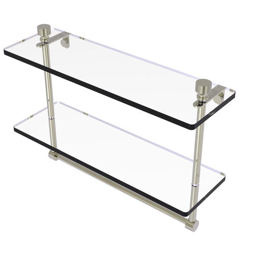 """Allied Brass Foxtrot Collection 16"""" Two-Tiered Glass Shelf with Integrated Towel Bar"""