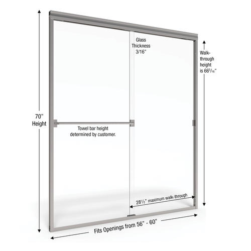 Basco Classic Semi Frameless Sliding Shower Door Fits 56 60 Inch