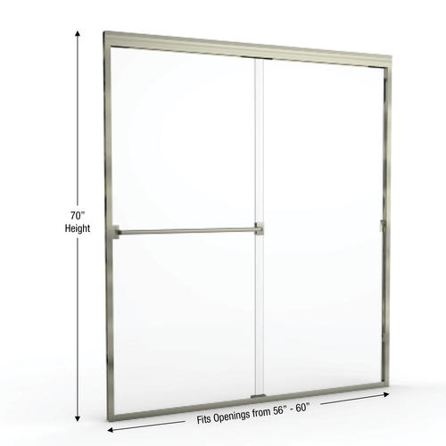 Basco Classic Semi Frameless Sliding Shower Door Fits 56 60 In
