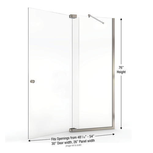 Basco Cantour Shower Door Fits 4806 To 54 In Opening Clear Glass