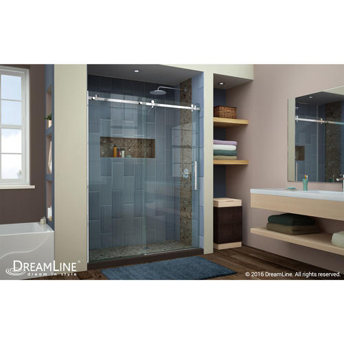 dreamline enigma air 56 to 60 in frameless sliding shower door in polished stainless steel at menards