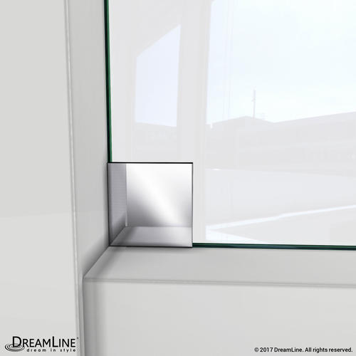 dreamline enigmax 44 to 48 in fully frameless sliding shower door clear 38 in glass door brushed stainless steel finish at menards