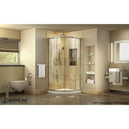 DreamLine Prime Frameless Sliding Shower Enclosure And SlimLine 33 In. By  33 In. Quarter Round Shower Base In White At Menards®