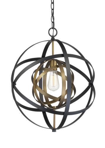 Bel Air Lighting Orbital 1 Light Antique Goldblack Pendant Light