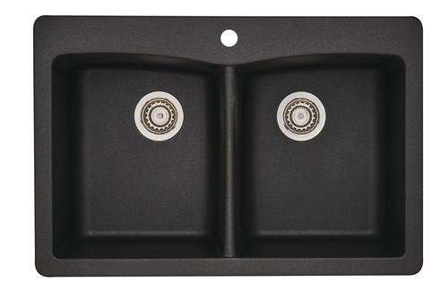 tuscany dual mount 33 granite composite 1 hole double bowl kitchen