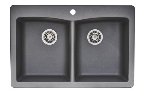 Tuscany Dual Mount 33 Granite Composite 1 Hole Double Bowl Kitchen Sink At Menards