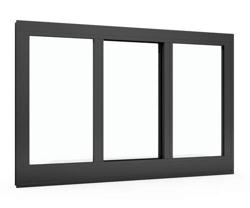 "Boyd® Architectural-Grade 950 Series Dark Bronze Finish 48""W x 24""H Aluminum Center-Sliding Triple Window (No Nailing Flange)"