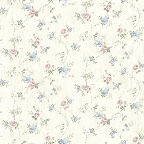 Brewster Periwinkle Persimone Floral Vine Wallpaper At Menards