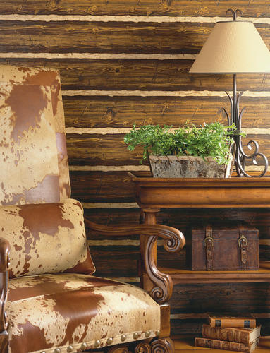 Brewster Franklin Brown Textured Rustic Pine Wood Wallpaper