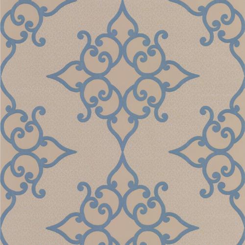 Brewster Sebastian Blue Crepe Moroccan Medallion Wallpaper
