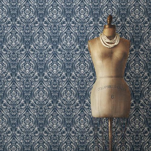Nuwallpaper Bohemian Damask Indigo Peel Stick Wallpaper Roll At Menards