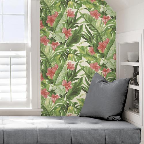 Nuwallpaper Tropical Paradise Multicolor Peel Stick Wallpaper Roll At Menards