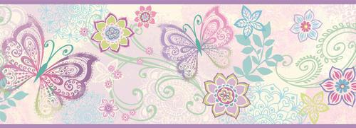 Brewster Fantasia Purple Boho Butterflies Scroll Wallpaper