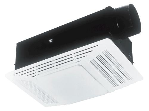 broan® 50 cfm ceiling exhaust bath fan with heater and light at