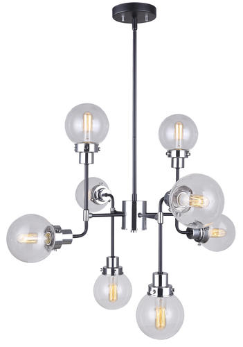 Patriot Lighting Atom 8 Light Black And Chrome Chandelier