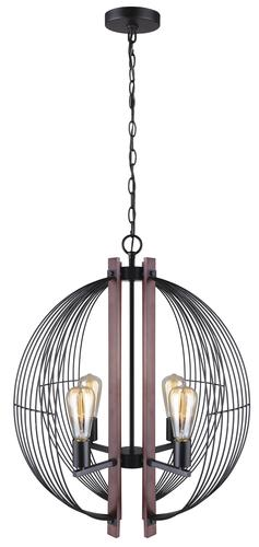 Patriot Lighting Gage 4 Light Black With Wood Accents