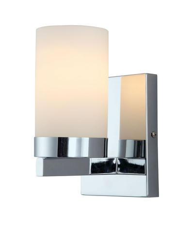 "Bathroom Sconces Menards patriot lighting® mystic 4-3/4"" chrome 1-light gu24 wall sconce at"