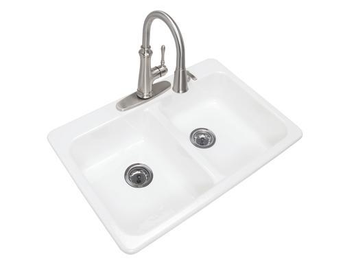 Menards Kitchen Sinks | Tuscany Top Mount 33 Cast Iron 4 Hole Double Bowl Kitchen