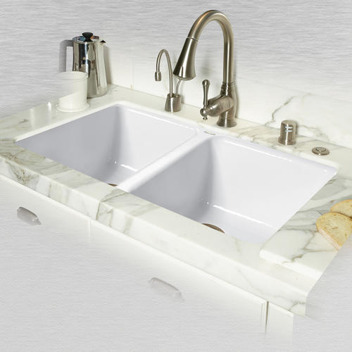CECO Doheny Undermount 33  Cast Iron Double Bowl Kitchen Sink. Model Number 748-UM-20 & CECO Doheny Undermount 33